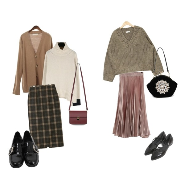ROCOSIX unisex basic cardigan,daily monday Sleeve point turtle knit,AIN unusual wool midi skirt (s, m)등을 매치한 코디