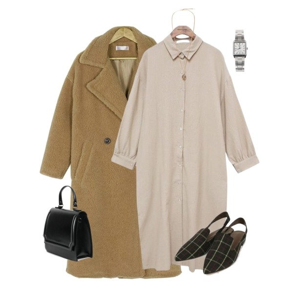 common unique [OPS] DARIA COLLAR LONG OPS,AIN check pointed sling back (225-250),BANHARU cozy warm long coat등을 매치한 코디