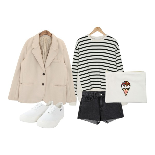 ABLY 케이시 팬츠,BANHARU stripe napping mtm,common unique [OUTER] WOOL 50% SOFT JACKET등을 매치한 코디