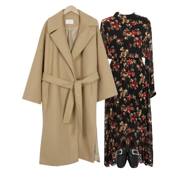 From Beginning Low square buckle loafer_M (size : 230,235,240,245,250),From Beginning Belted lapel long coat_K (size : free),common unique [OPS] FLOWER CHIFFON SLIT OPS등을 매치한 코디