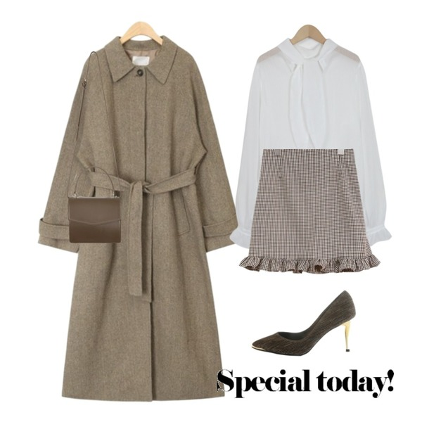 common unique [SKIRT] HOUND TOOTH CHECK FRILL SKIRT,From Beginning Wonder sheer ribbon blouse_H (size : free),AIN hidden strap handmade coat등을 매치한 코디