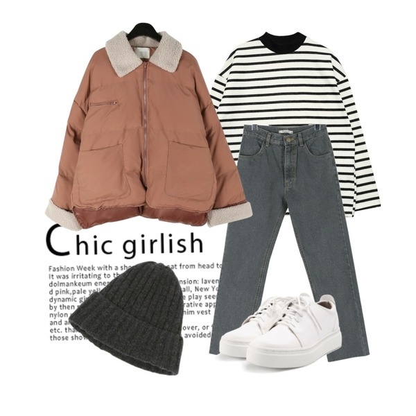 Untitled,GIRLS RULE 윌리 단가라 하이넥 티 (t4082),daily monday Gray cutting point pants등을 매치한 코디