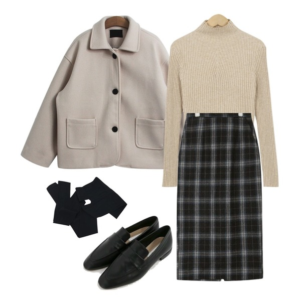 TODAY ME [coat]하더 코트(울 카라 포켓 미니 숏 자켓 코트),AIN unusual wool midi skirt (s, m),From Beginning Leaf golgi slim knit_S (size : free)등을 매치한 코디