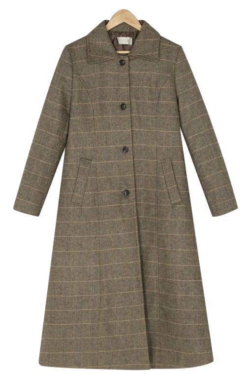 Single Button Check Wool Coat