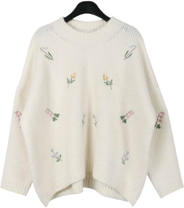 Floral needlepoint knit