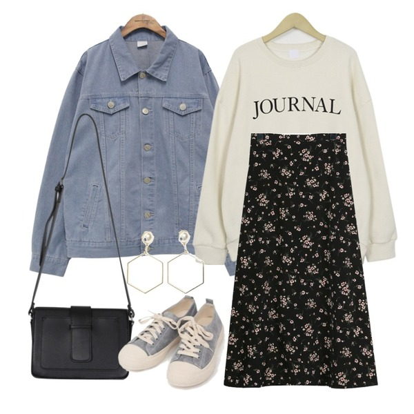 From Beginning Journal slit mtm_K (size : free),common unique [OUTER] VINTAGE COTTON DENIM JACKET,daily monday Cream flower long skirt등을 매치한 코디