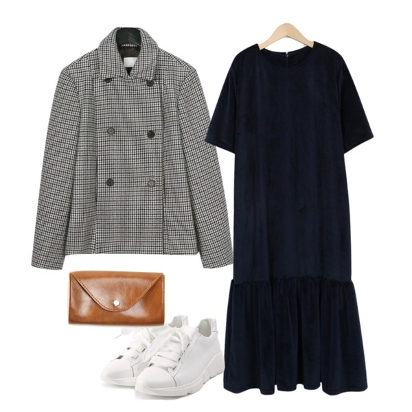 daily monday Wool double mini jacket,From Beginning Velvet flare boxy ops_S (size : free),ROCOSIX wide ribbon shoes등을 매치한 코디