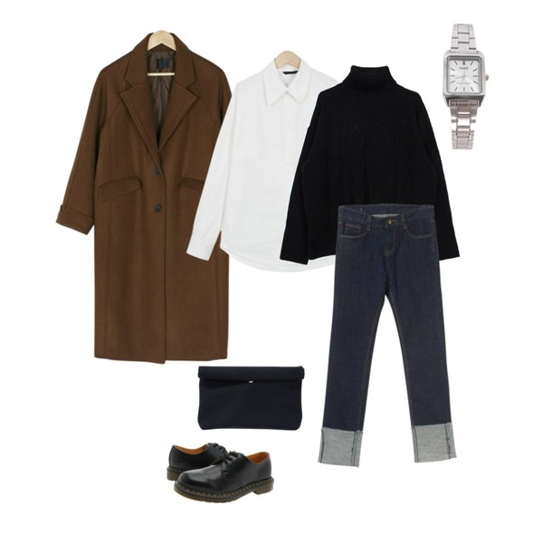 BANHARU roll-up sleeve long coat,biznshoe Cable turtle-neck knit (3color),From Beginning Peach cotton shirts_B (size : free)등을 매치한 코디