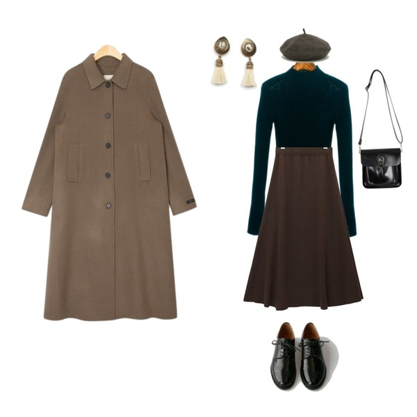 BANHARU understated classic loafer,ROCOSIX prime half neck knit,common unique [SKIRT] FLARE LONG KNIT SKIRT등을 매치한 코디
