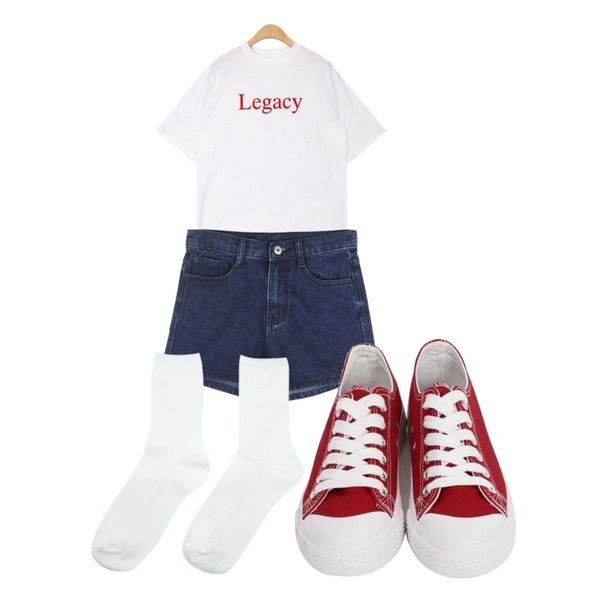 ABLY 러버 팬츠,From Beginning Purcell cotton sneakers_M (size : 230,235,240,245,250),AIN neat legacy T등을 매치한 코디