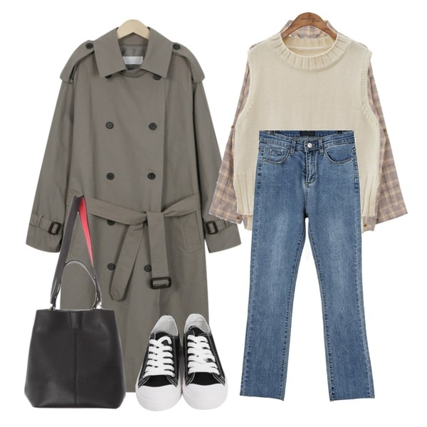 common unique [OUTER] CALM ROUND NECK SLIT KNIT VEST,biznshoe Wrinkle check shirts (3color),From Beginning Skon boxy trench coat_B (size : free)등을 매치한 코디