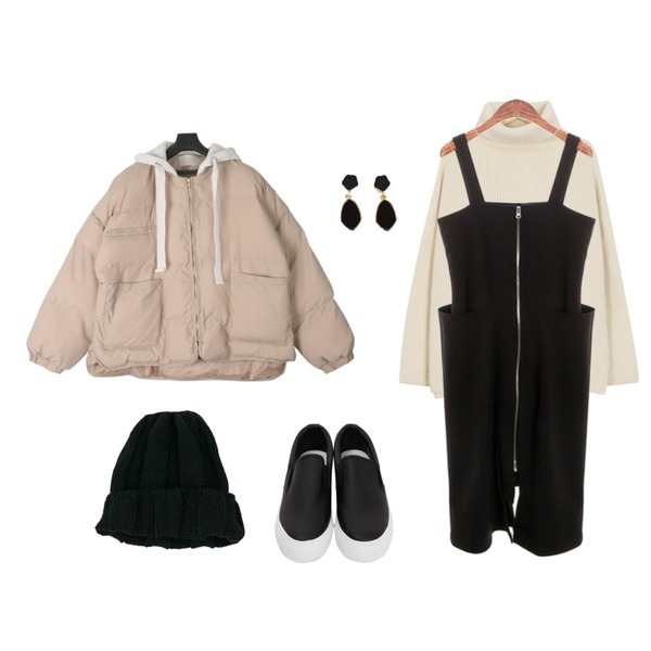 MESMIN 빈티지 후드 패딩점퍼 (2color),From Beginning Back slit turtle knit_B (size : free),ROCOSIX zipper overall OPS등을 매치한 코디