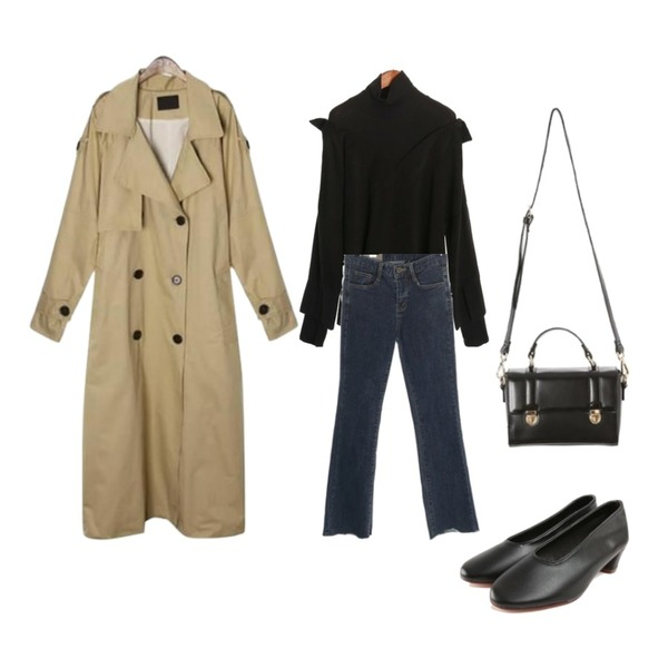 ROCOSIX maxi long belt trench coat,ROCOSIX planet boots-cut denim pants,ROCOSIX cree pitch NB등을 매치한 코디