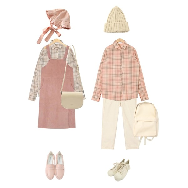 AIN relaxed wide pants,AIN soft pastel check shirts,AIN soft pastel check shirts등을 매치한 코디