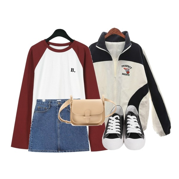 "ROCOSIX pro coloring JP (napping) ( ""주문폭주"" 입고예정일 1월 31일 ),AIN stitch denim skirt (s, m, l),daily monday B lettering raglan tee등을 매치한 코디"