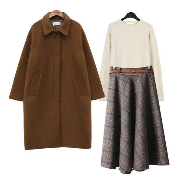 MASHYELLOW 벨트SET 체크 롱 스커트,common unique [OUTER] STANDING WOOL RAGLAN COAT,daily monday Spring color wool knit등을 매치한 코디