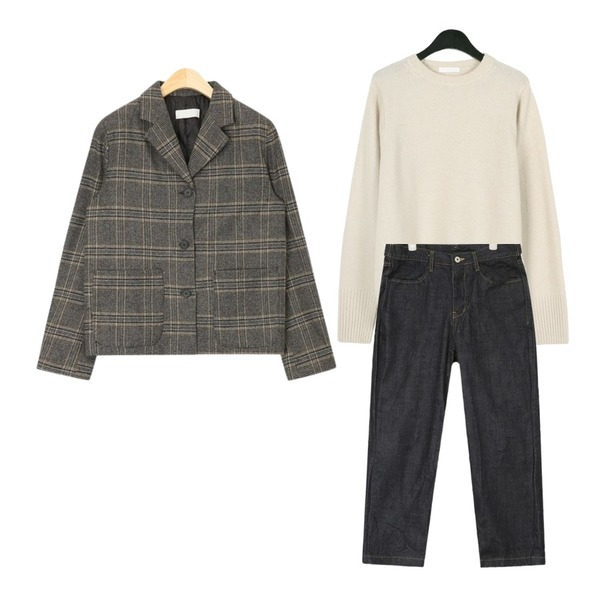AIN chic pocket check jacket,daily monday Spring color wool knit,AIN relaxed wide pants등을 매치한 코디