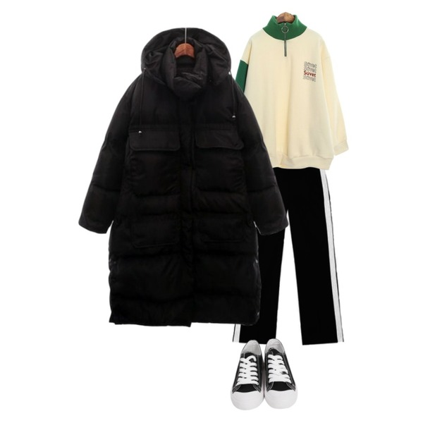 AIN FRESH A track slacks,From Beginning Purcell cotton sneakers_M (size : 230,235,240,245,250),ROCOSIX goods anorak MTM등을 매치한 코디