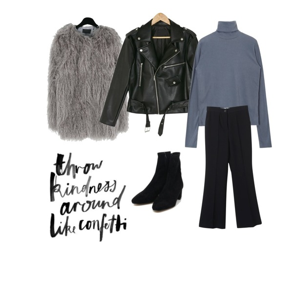 AIN softy suede ankle boots (225-250),daily monday Gorgeous natural fur jacket,BANHARU loose fit short rider jacket등을 매치한 코디