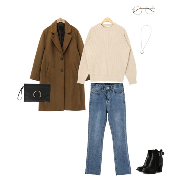 AIN show round basic knit,daily monday Washing cutting denim skinny,common unique [OUTER] BUTTON ROLL UP SINGLE COAT등을 매치한 코디