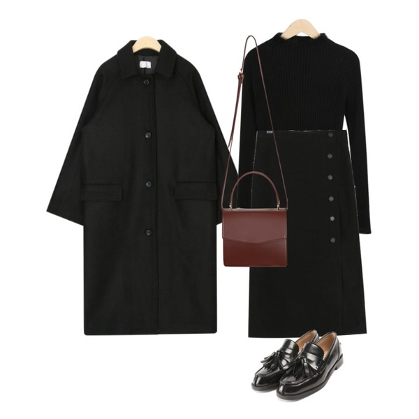 AIN person wool long coat,myblin 밍크 포인트 폴라 티 (5color),daily monday Button corduroy long skirt등을 매치한 코디