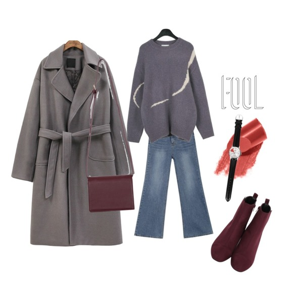 AIN cola wide boots-cut pants (s, m),common unique [OUTER] BOXY WOOL ROLL UP STRAP COAT,daily monday Boxy retro knit등을 매치한 코디