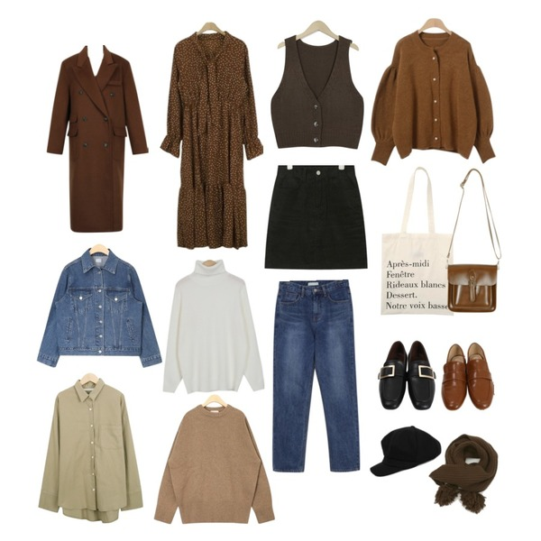 AIN monday mini corduroy skirt (s, m),From Beginning Formal double long coat_B (size : free),about moon 어반 도트 원피스 - 2 color등을 매치한 코디