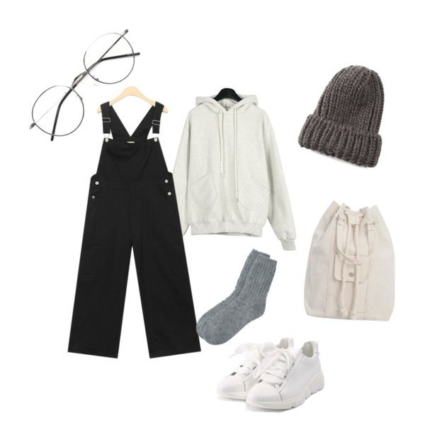 AIN vintage casual overalls pants,daily monday Napping pocket training hood,ROCOSIX wide ribbon shoes등을 매치한 코디