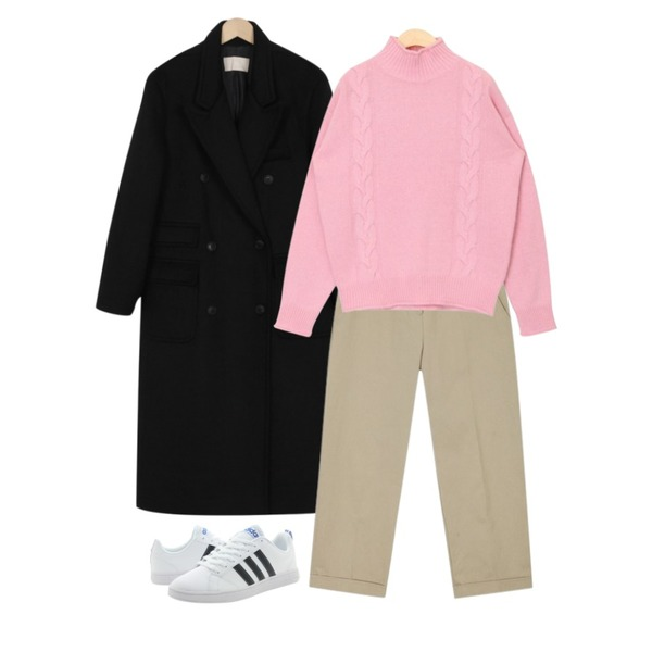 AIN twist half neck lambswool knit,From Beginning Formal double long coat_B (size : free),AIN british cotton pants (s, m)등을 매치한 코디