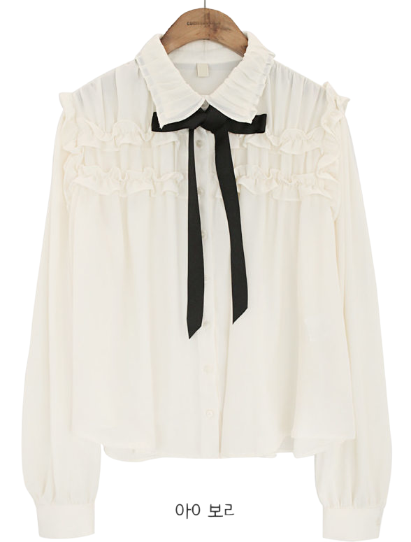 COLLAR FRILL TIE CHIFFON BLOUSEWITH CELEBRITY _