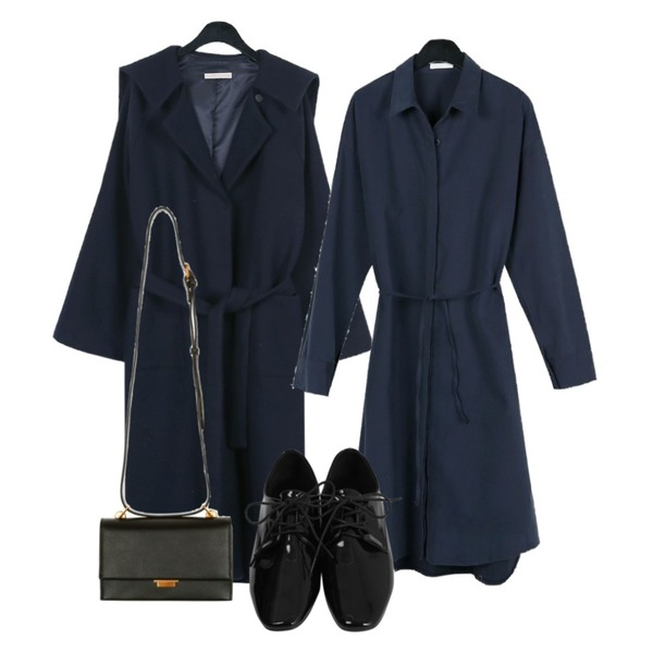 From Beginning Edge enamel loafer_H (size : 230,235,240,245,250),daily monday Strap navy wool coat,daily monday Strap long shirts one-piece등을 매치한 코디