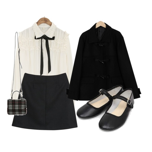From Beginning Merit duffle half coat_K (size : free),myblin 미니멀 스커트 (3color),common unique [TOP] COLLAR FRILL TIE CHIFFON BLOUSE등을 매치한 코디