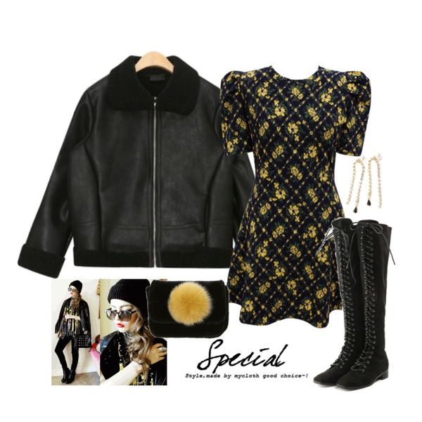 Untitled,AIN suitable leather mustang,common unique [OPS] YELLOW FLOWER JACQUARD OPS등을 매치한 코디