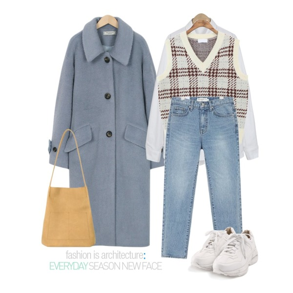 From Beginning Made_outer-103_powder single coat_S (size : free),common unique [OUTER] MIX CHECK WOOL KNIT VEST,From Beginning Pastel oxford shirts_S (size : free)등을 매치한 코디