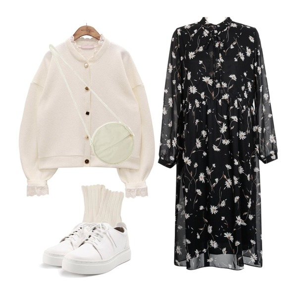 MINIBBONG 슬기 레이스양말 (2켤레set),common unique [OUTER] LOVELY LACE JEWELRY CARDIGAN,From Beginning Dandelion mood chiffon ops_B (size : free)등을 매치한 코디