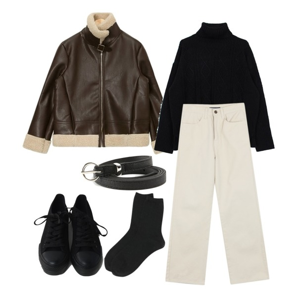 ABLY [기솔 PICK] 핀션 코튼 팬츠_,AIN suitable leather mustang,biznshoe Cable turtle-neck knit (3color)등을 매치한 코디