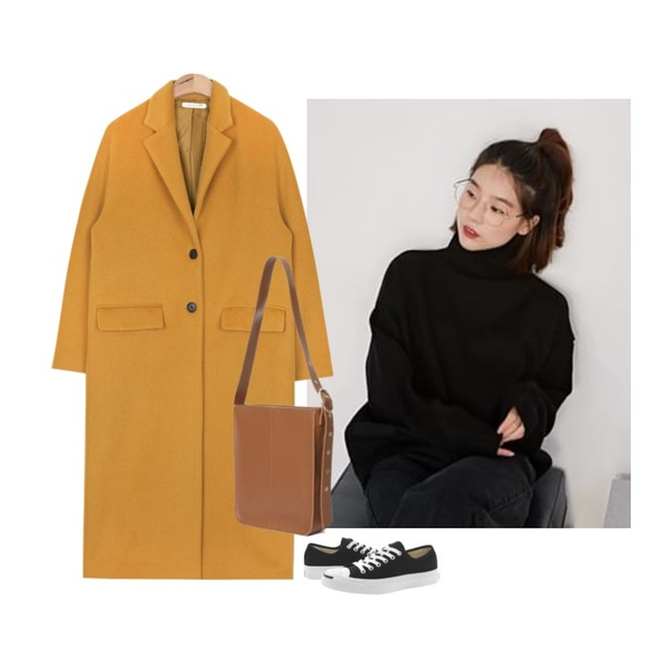AIN long over silhouette coat (2 colors),ROCOSIX mini size bag,From Beginning Name turtle neck knit_H (size : free)등을 매치한 코디