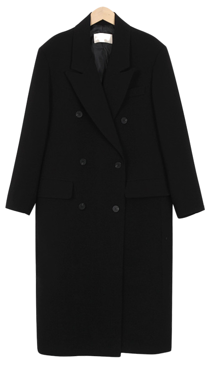 Low double long coat jacket