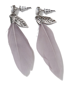 Feather drop earring_H (size : one)