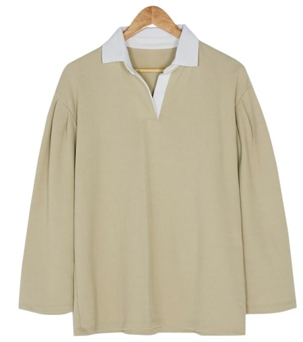 loose fit puff sleeve collar tee