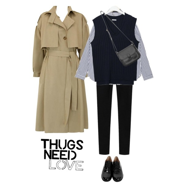 daily monday High slim fit warm skinny,AIN summary pocket stripe shirts,common unique [OUTER] CAPE STRAP LOOSE TRENCH COAT등을 매치한 코디