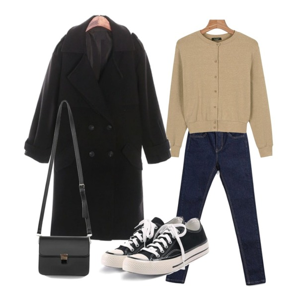 daily monday Daily basic cardigan,ROCOSIX beginning half CT (당일출고),ABLY 반하이 살빠졌진 (990)등을 매치한 코디