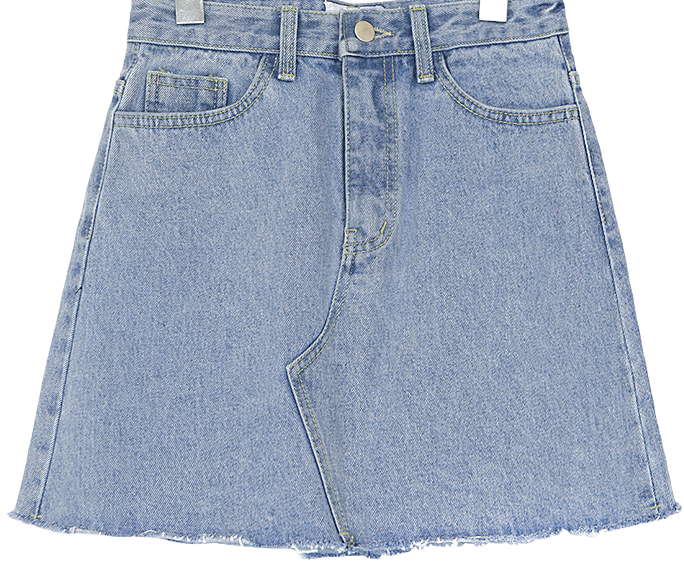 NATURAL CUTTING DENIM MINI SKIRT