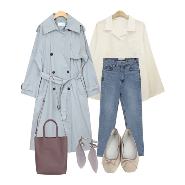 AIN more trench coat,From Beginning Core slim denim pants_B (size : S,M,L),BLINGIT 카라포켓남방등을 매치한 코디
