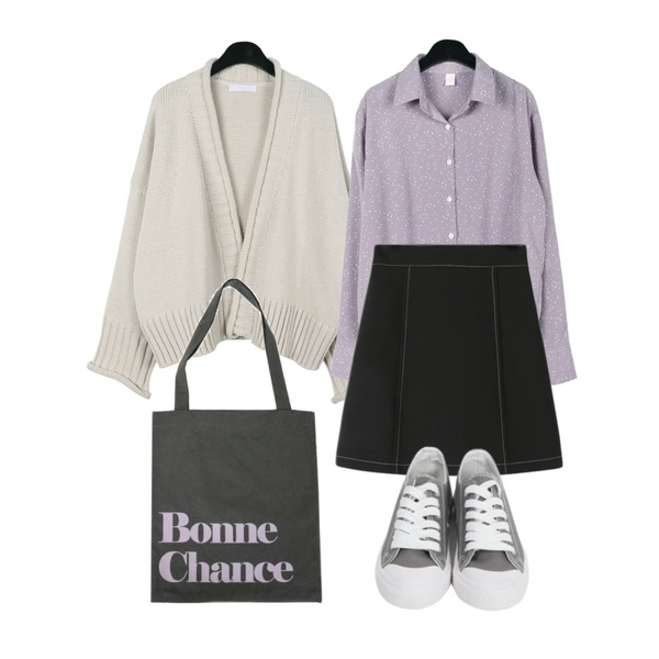 daily monday Feminine shawl cardigan,Reine 페디 스티치 미니스커트,daily monday Lovely spring blouse등을 매치한 코디