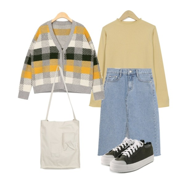 AIN check piece wool cardigan,From Beginning Jelly high-neck color knit_K (size : free),AWAB 넬라데님스커트등을 매치한 코디
