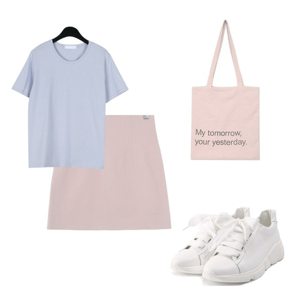 AIN yesterday eco bag,daily monday Basic pastel soft tee,UPTOWN HOLIC 러브썸 sk (*5color)등을 매치한 코디