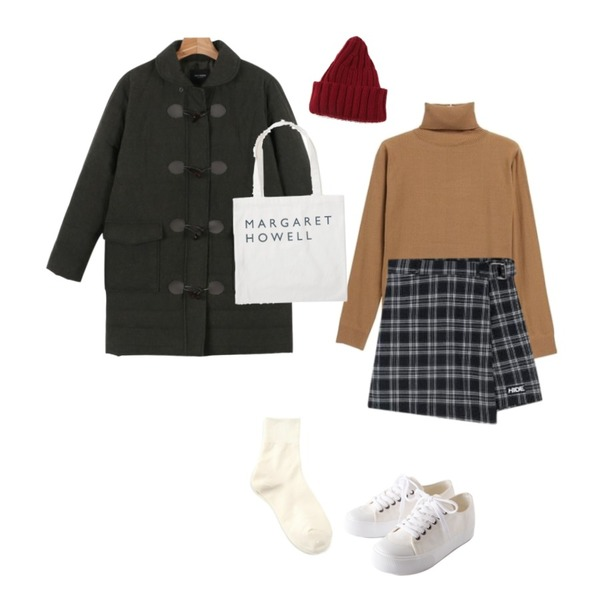 daily monday Daily wooden button padding,MIXXMIX Check Ring Wrap Skirt Pants,NEW NEED NOW 플로우 베이직 터틀넥 니트(9color)등을 매치한 코디