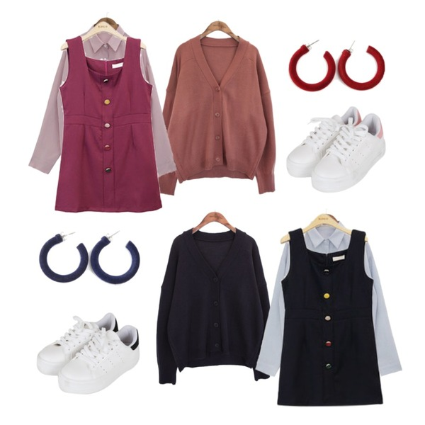 ROCOSIX ronsi earring,common unique [OUTER] 5 COLOR V NECK CARDIGAN,common unique [OUTER] 5 COLOR V NECK CARDIGAN등을 매치한 코디
