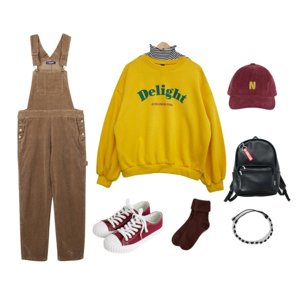 biznshoe Corduroy overalls pants (2color),From Beginning Wide sleeve stripe T_S (size : free),GIRLS RULE 딜라잇 벌룬 맨투맨 (t4230)등을 매치한 코디